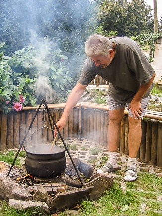 Cooking Goulash in the Backyard
