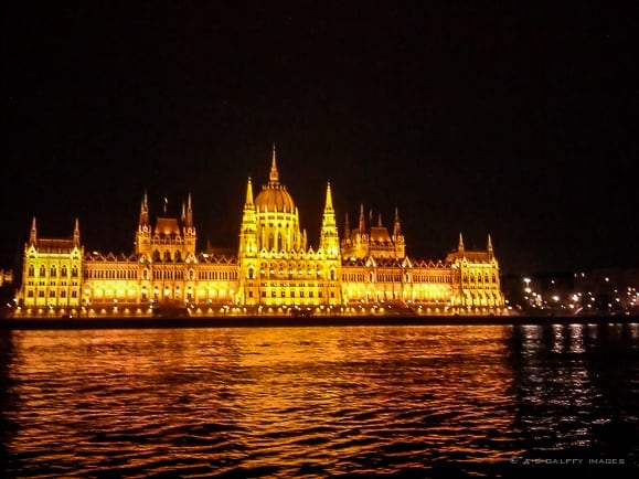 Night View of the Parliament Building from the Cruise Ship