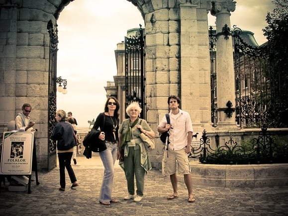 With my son and my mother-in-law in front of the Royal Palace gate, in 2004 (photograph by Laszlo Galffy)