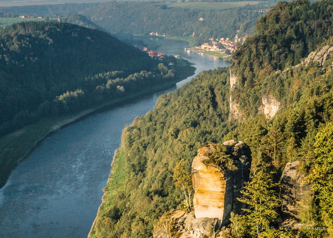 View of the Elbe River in the Saxon Switzerland