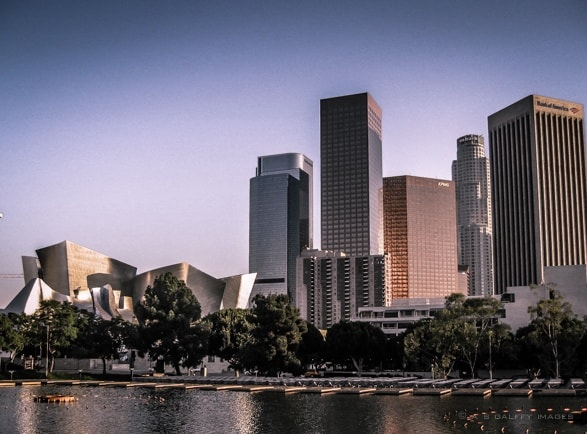 Los Angeles downtown with Walt Disney Hall on the left
