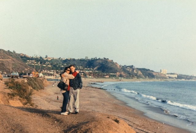 With my dad on the Malibu beach in 1989