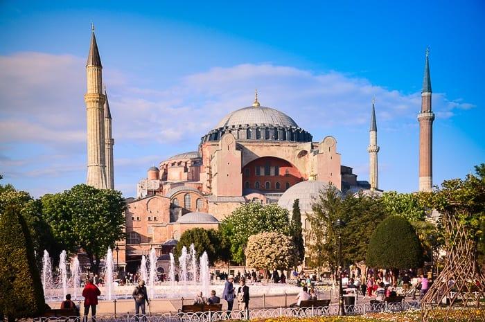 View of Hagia Sophia church/mosque in Istanbul
