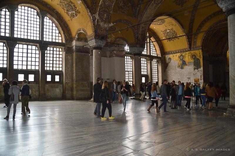 The upstairs gallery of Hagia Sophia