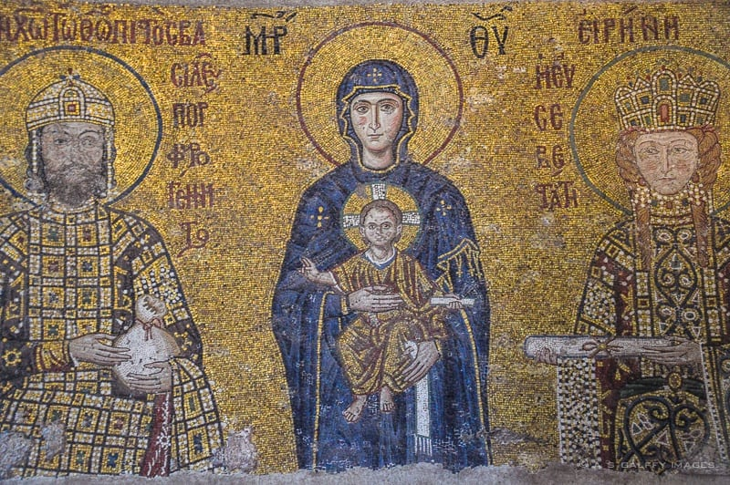 Mosaic representing the Virgin and Child and Emperor John II Komnenos and Empress Irene