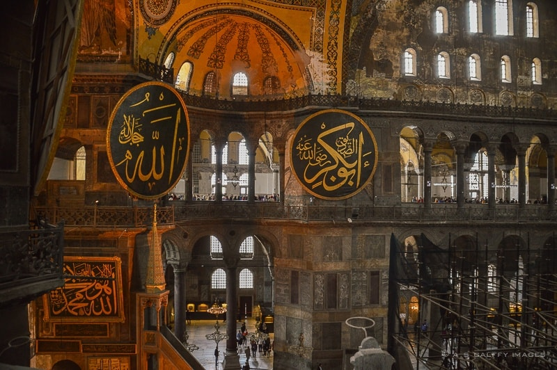 Inside view of Hagia Sophia in Istanbul