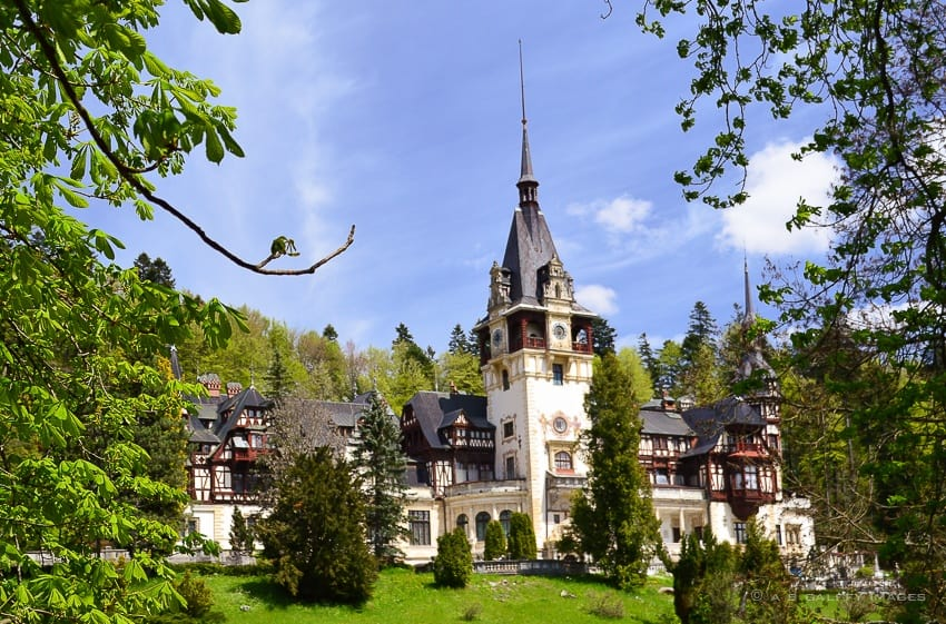 view of Peles Castle in Romania