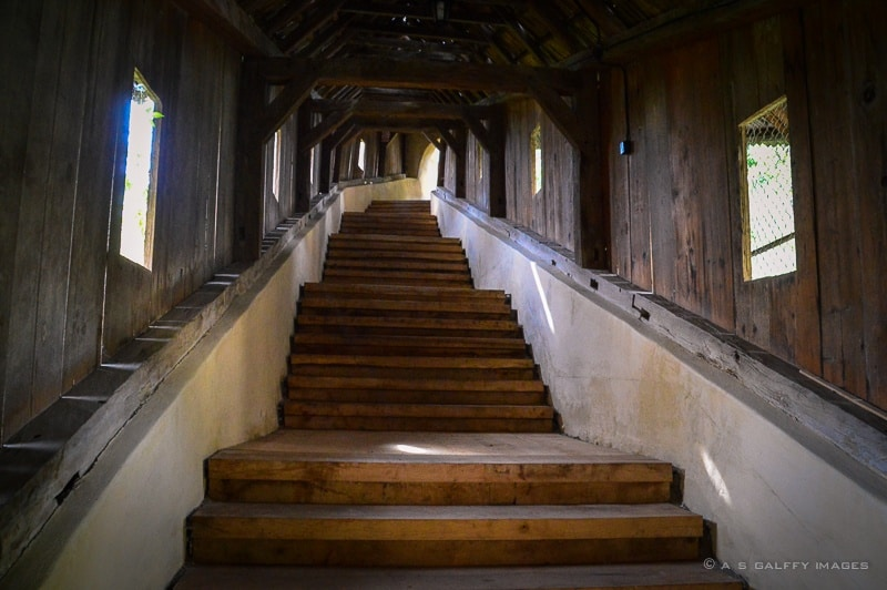 view of the covered staircase leading to the fortified church of Biertan