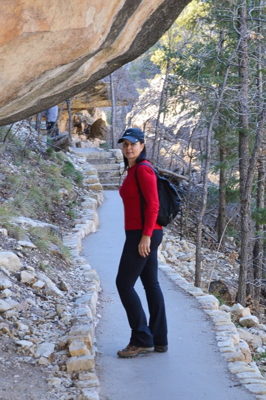 walking on the path at Walnut Canyon