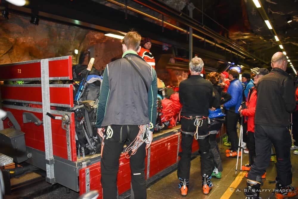 cogwheel train on the platform at Jungfraujoch