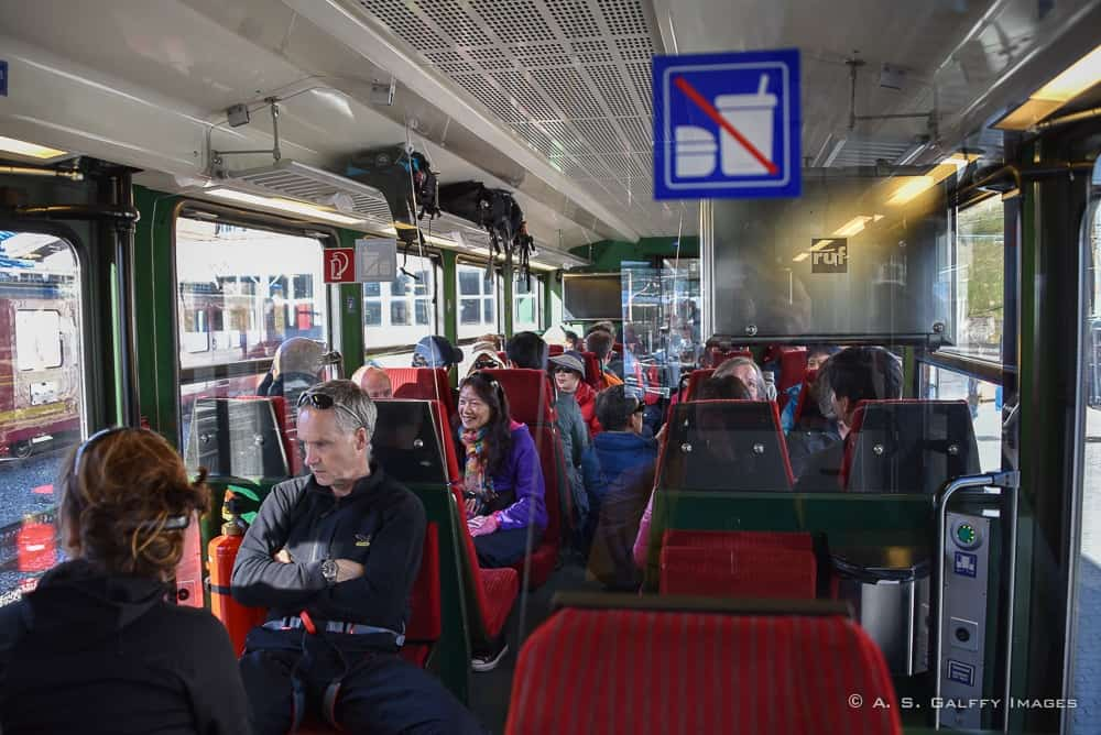aboard the cogwheel train to Jungfraujoch