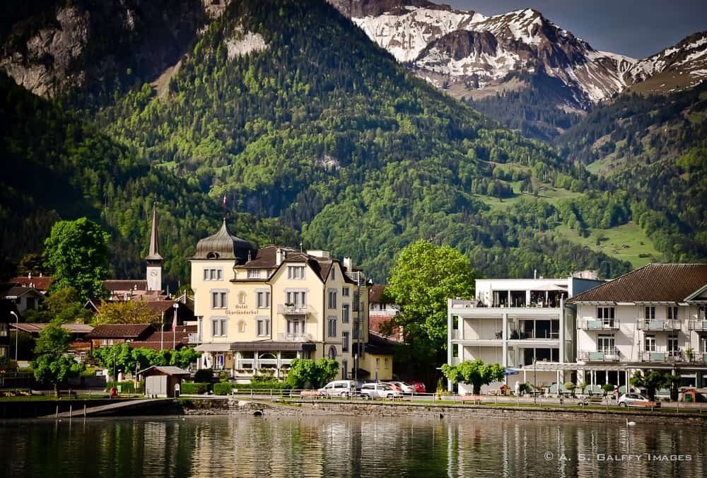 View of Interlaken from Lake Brienz