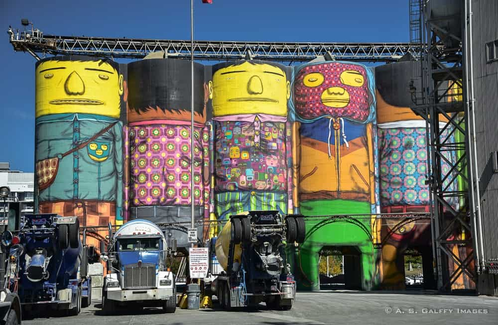 Decorated silos on Granville Island