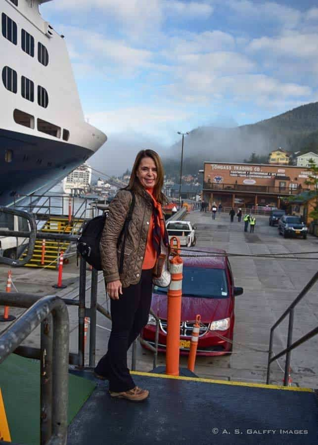 Getting off the cruise ship in Ketchikan