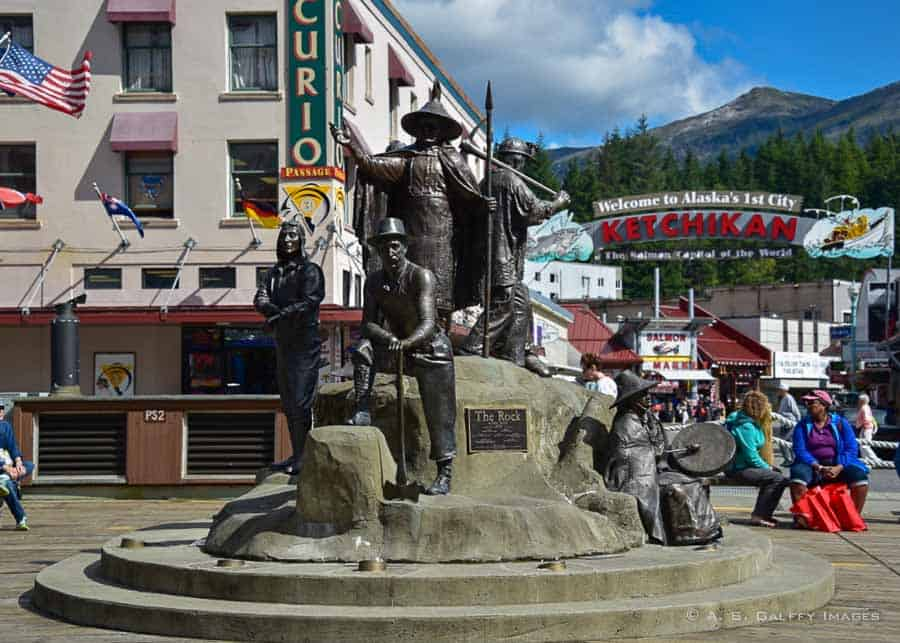 statue in downtown Ketchikan