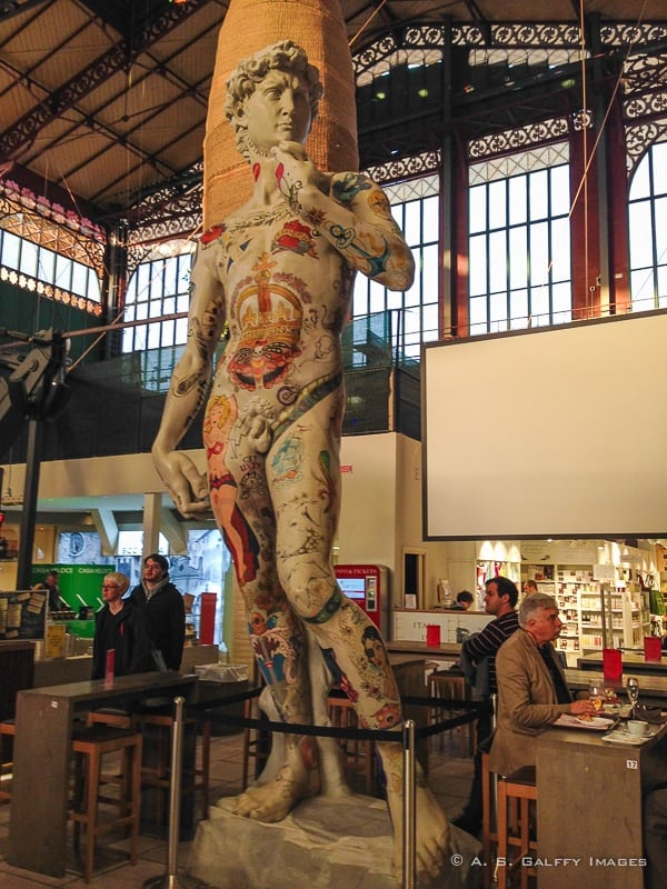Replica of the Statue of David in Mercato Centrale in Florence