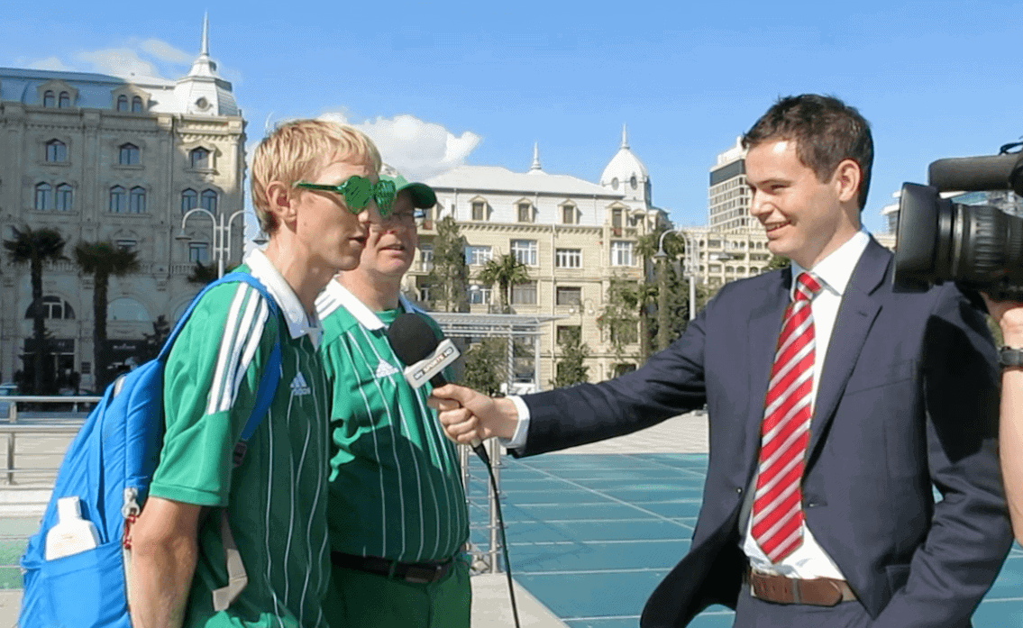 Jonny Blair being interviewed in Azerbaijan