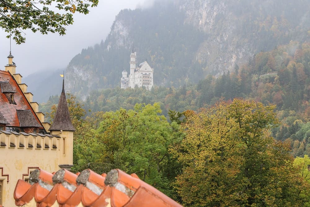 View of the Neuwschwanstein castle from Hohenschwangau