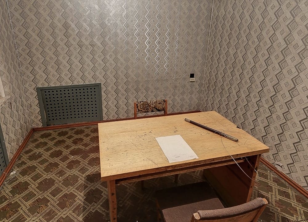 Interrogation room at the Corner House in Riga