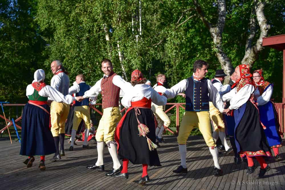 folk Swedish dancers at the Skansen open air museum