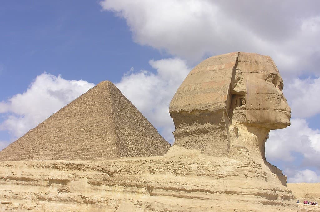 The Sphinx and the Great pyramid of Giza in Egypt, Africa