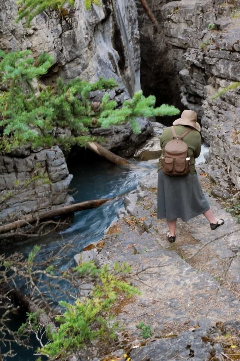 Cindy Carlssson photographing the Beauty Creek in Canada