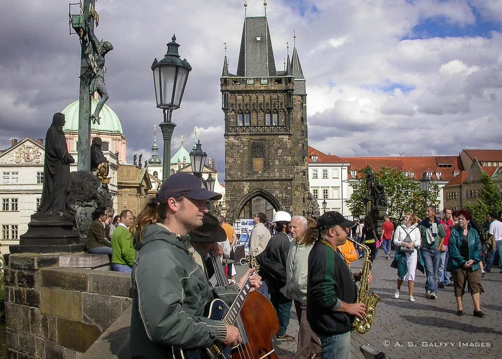 musicians performing on Charles Bridge in Prague