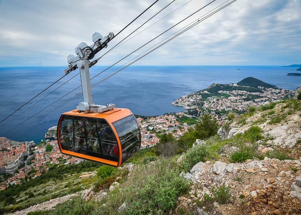 View of the cable car up to Mount Srd