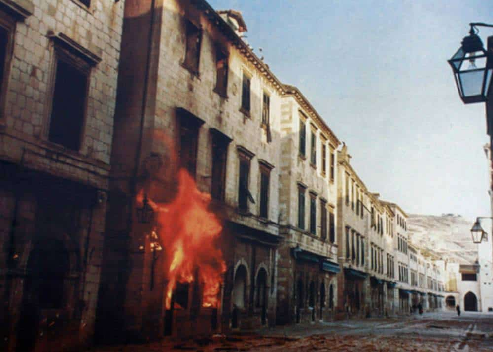 Stradum, the main street of Old Town during the Siege of Dubrovnik