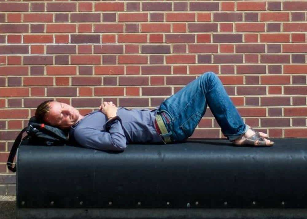 Image of a man doing his Siesta in Europe