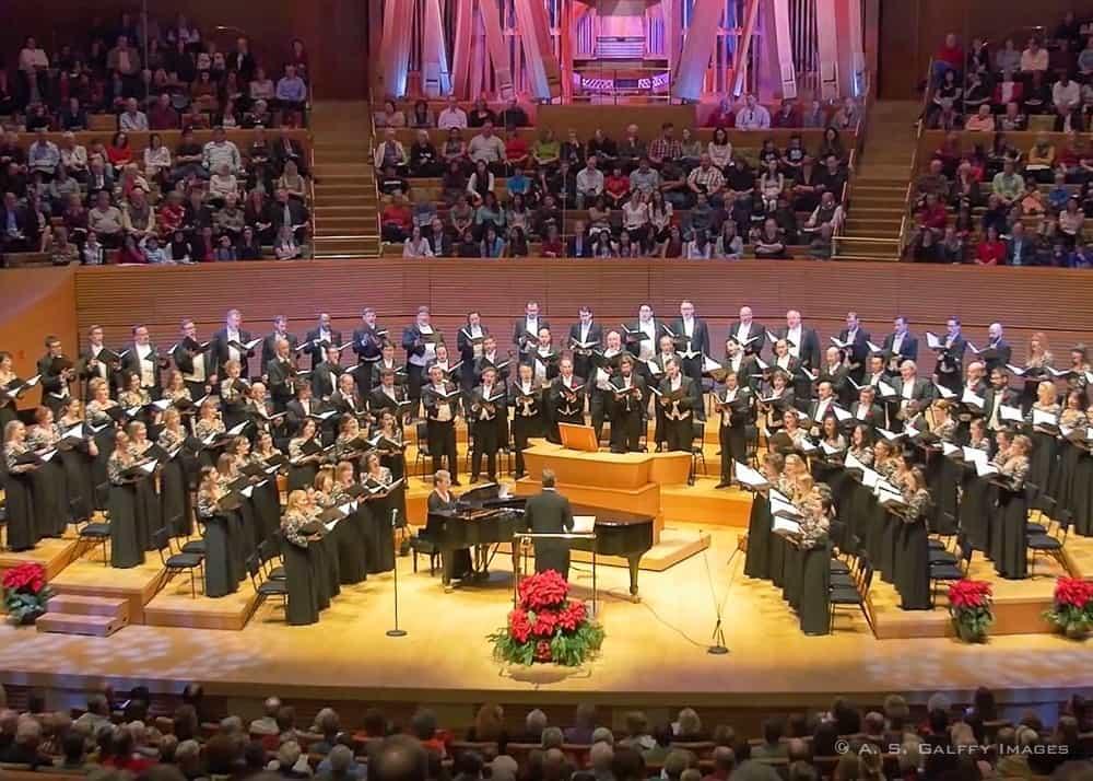 Choir singing at Walt Disney Hall