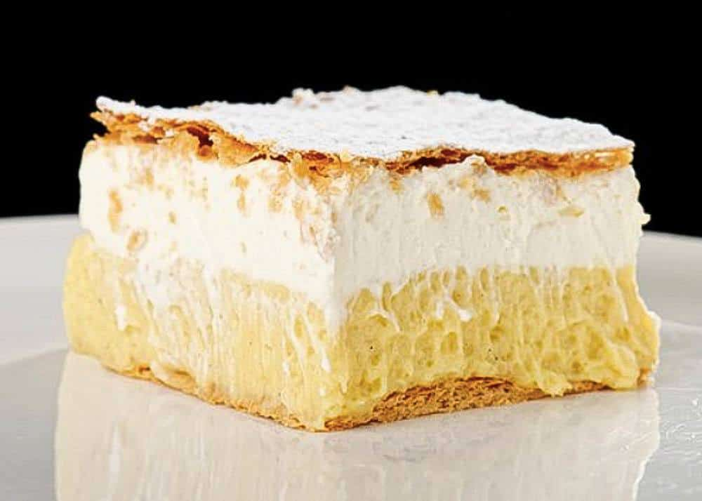 a slice of Kremna Rezina, Bled's famous cake