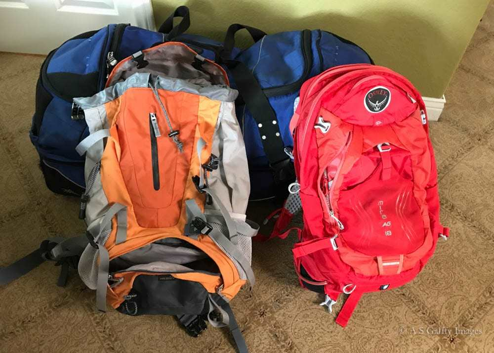 Packing list for Patagonia - backpacks