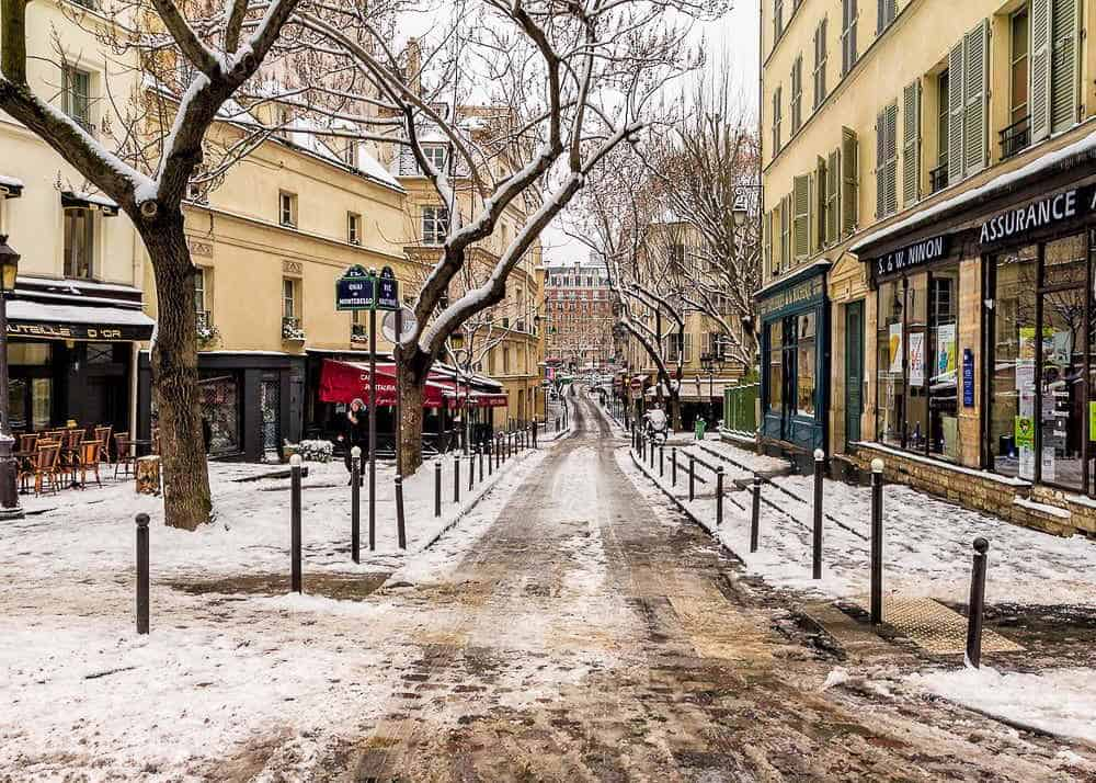Paris street in winter