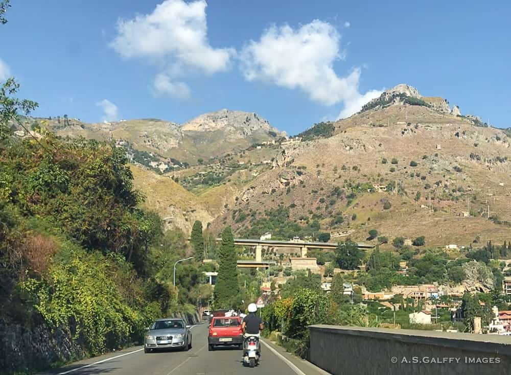 Driving on Autostrada in Sicily