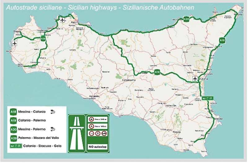 Sicilian highways map