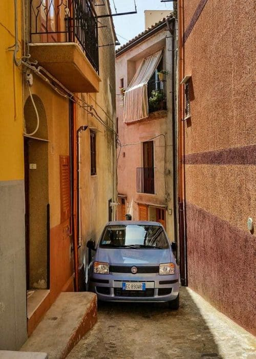 Driving on narrow roads in Sicily