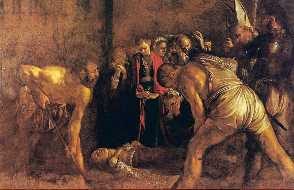 "Caravaggio's famous painting ""The Burial of Santa Lucia,"""