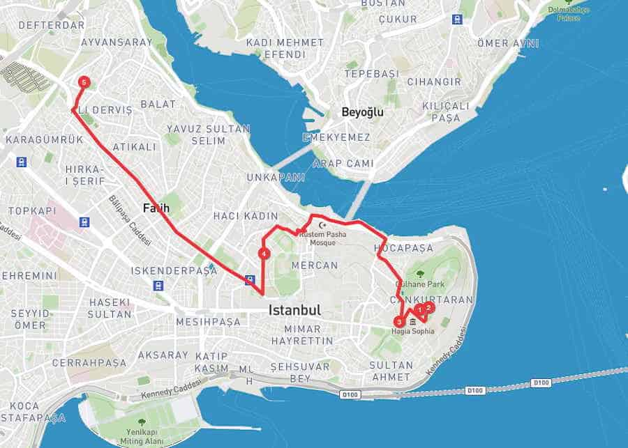 3 days in Istanbul - day 2 itinerary map