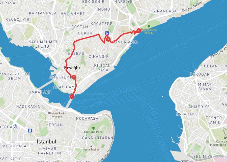 3 days in istanbul - Day 3 itinerary map