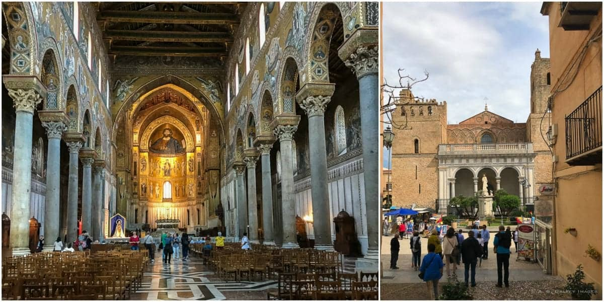 Interior and exterior view of Monreale Cathedral