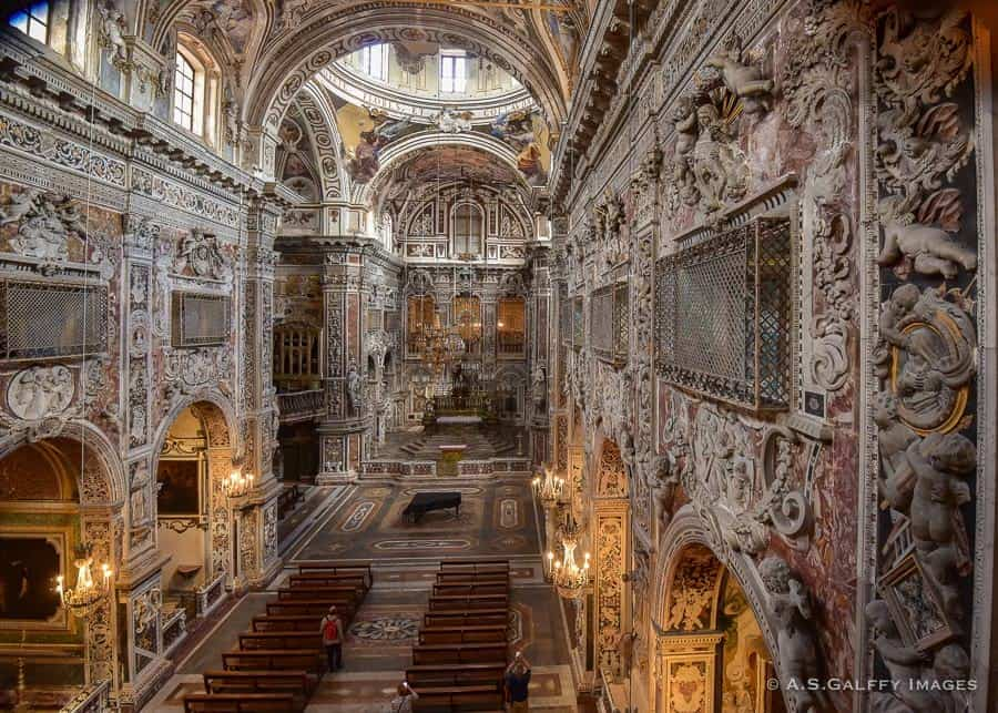 Inside the Santa Caterina Church in Palermo