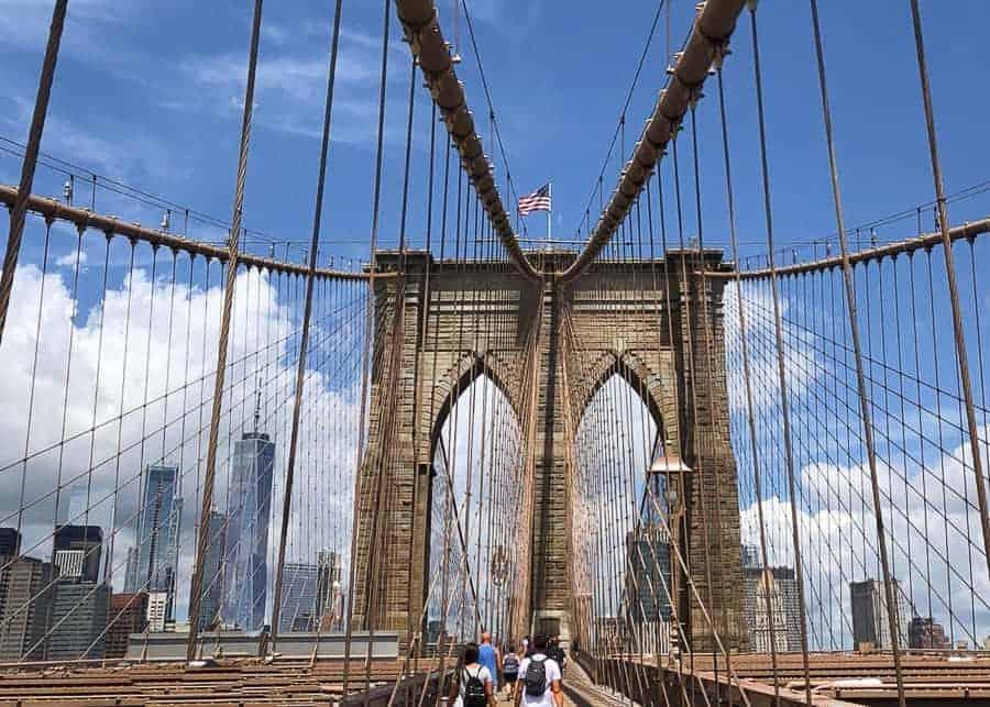 the Brooklyn Bridge in New York