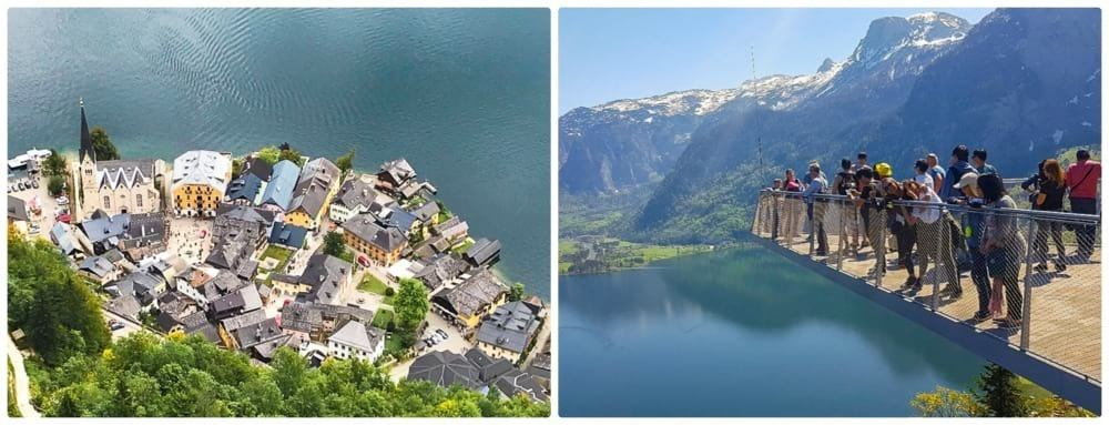 Hallstatt Skywalk and view of the lake