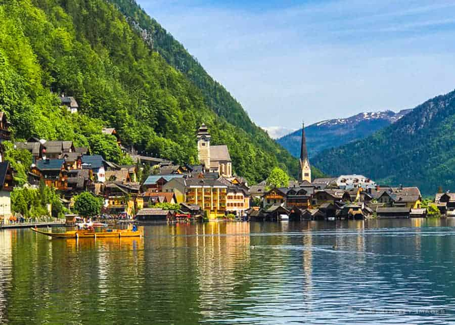View of Hallstatt village from the lake