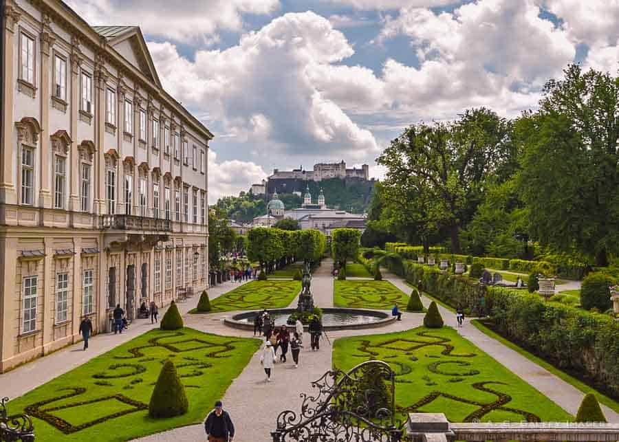 View of the Mirabel Palace and gardens