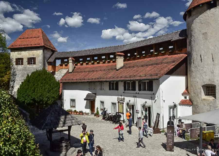 View of Bled Castle courtyard