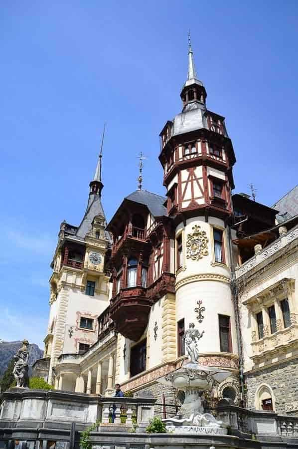 Front view of the peels castle in Romania