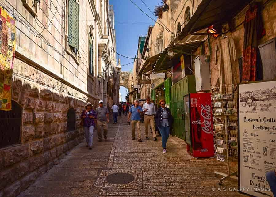 Tourists walking through Jerusalem