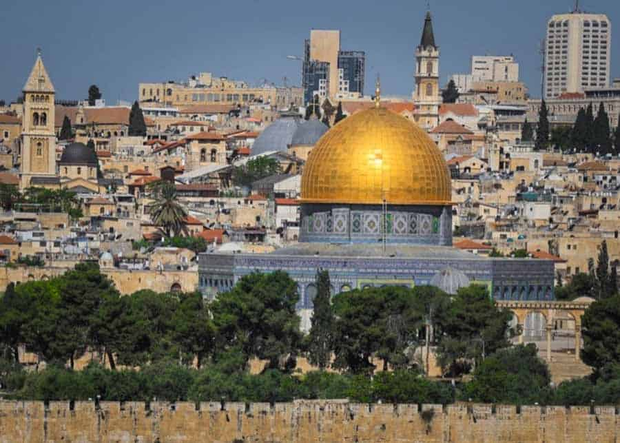 View of the Dome of the Rock in the Old City of Jerusalem